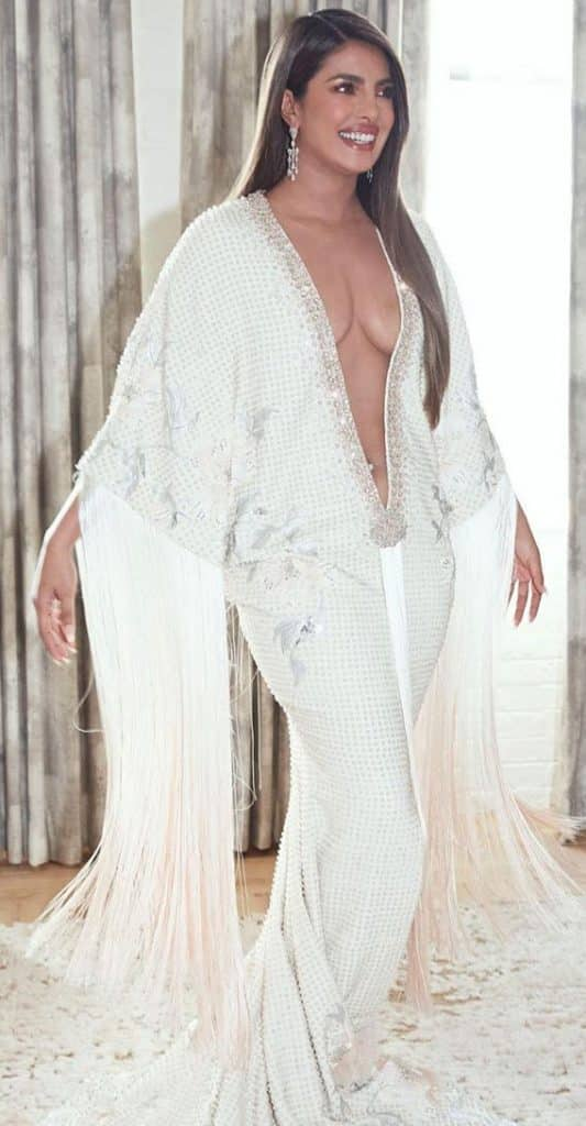 Priyanka Chopra in a kimono dress for Grammy Awards 2020
